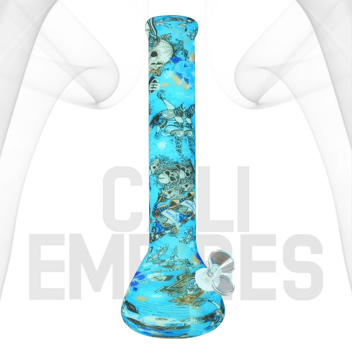Glow In The Dark Silicone Bong With Graphic Design | Tattoo Design