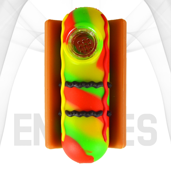 Hot Dog With Condiments In A Bun Silicone Hand Pipe | Rasta