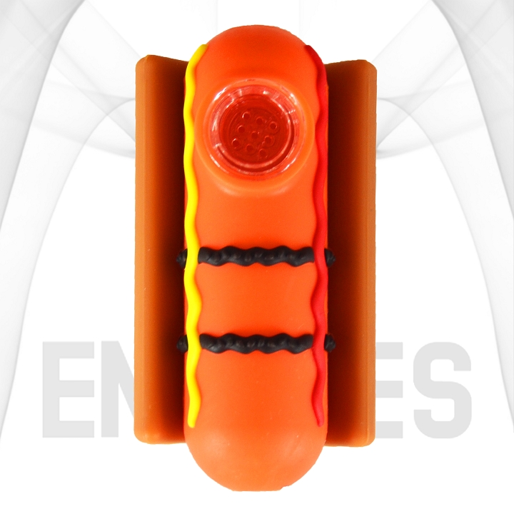 Hot Dog With Condiments In A Bun Silicone Hand Pipe | Orange