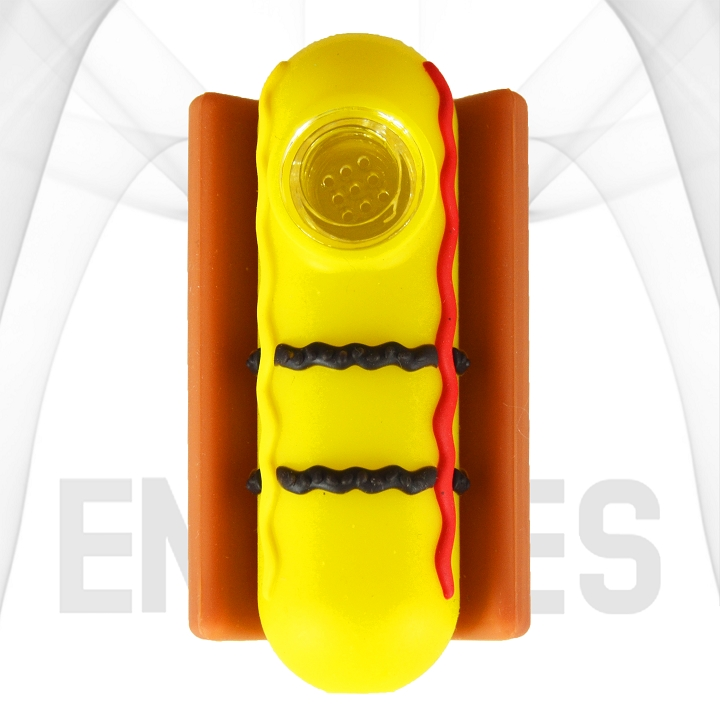 Hot Dog With Condiments In A Bun Silicone Hand Pipe | Yellow