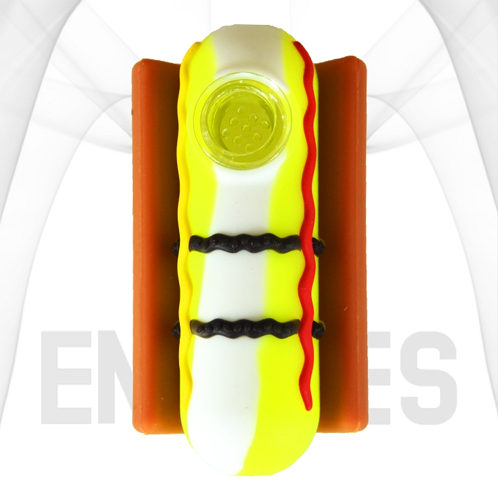 Hot Dog With Condiments In A Bun Silicone Hand Pipe | Yellow/White