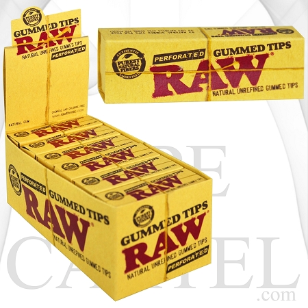 RAW Gummed Tips Perforated 24 Per Box