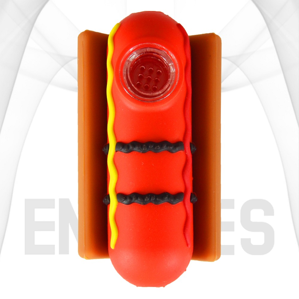Hot Dog With Condiments In A Bun Silicone Hand Pipe | Red